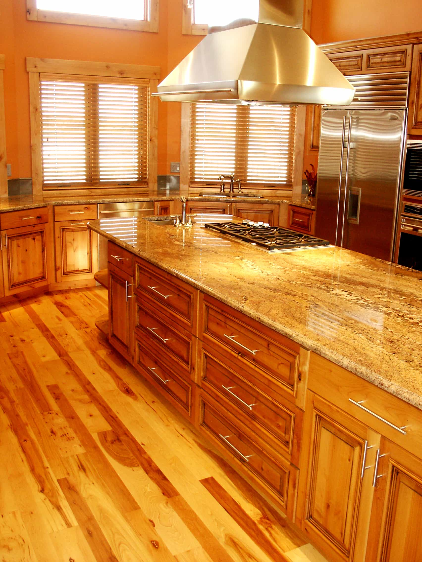 Kitchen Island with Wood Floors