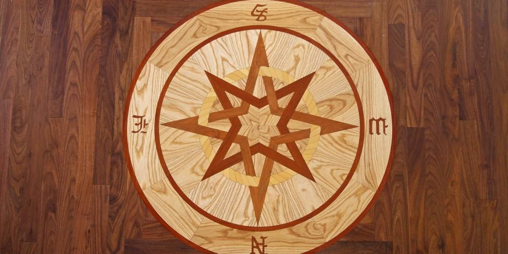 Inlay compass wood floor, Long Island NY