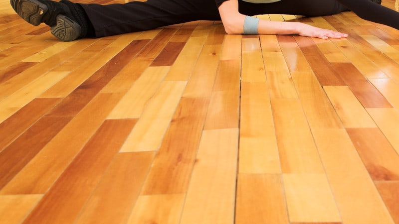 Yoga studio floor refinishing