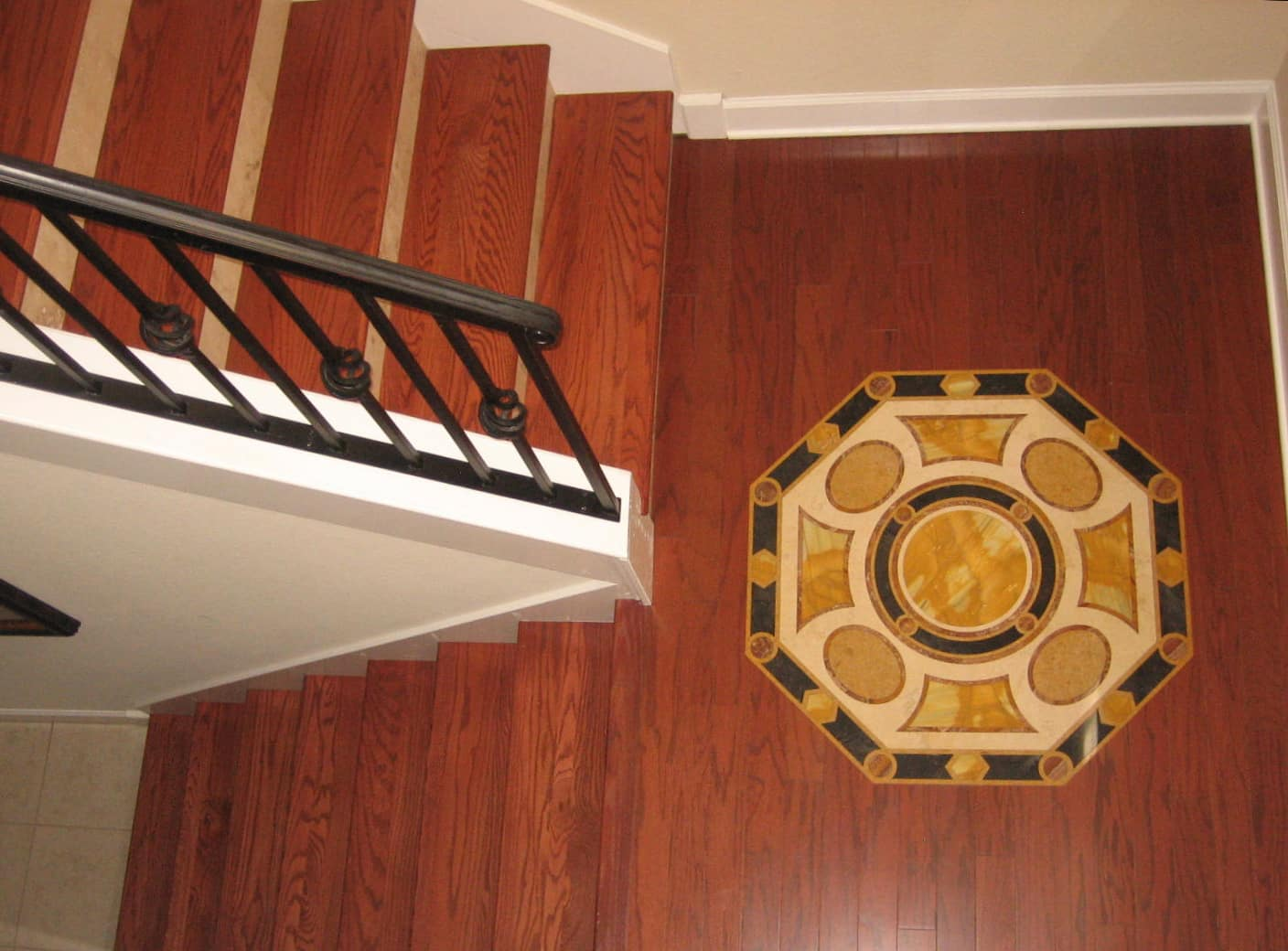 Hardwood inlay stairs long island ny advanced hardwood for Hardwood flooring inc
