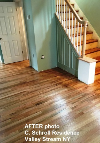 Living room wood floor AFTER refinishing.