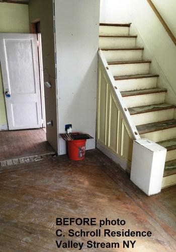 Living room wood floor BEFORE refinishing.